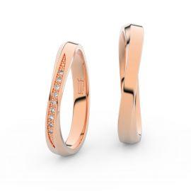 Snubní prsteny z růžového zlata s brilianty, pár - 3017