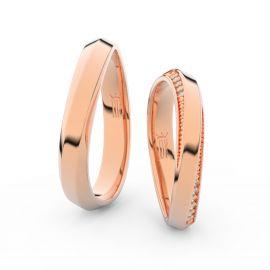 Snubní prsteny z růžového zlata s brilianty, pár - 3023