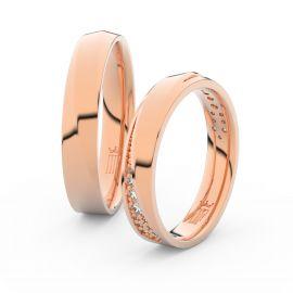 Snubní prsteny z růžového zlata s brilianty, pár - 3025
