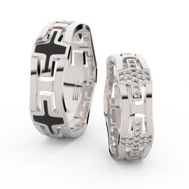 Snubní prsteny z bílého zlata s brilianty, pár - 3042