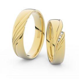 Snubní prsteny ze žlutého zlata s brilianty, pár - 3044