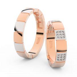 Snubní prsteny z růžového zlata s brilianty, pár - 3057