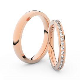 Snubní prsteny z růžového zlata s brilianty, pár - 3893