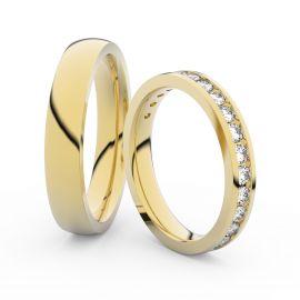 Snubní prsteny ze žlutého zlata s brilianty, pár - 3894