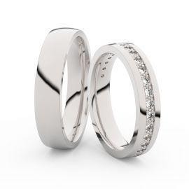 Snubní prsteny z bílého zlata s brilianty, pár - 3898