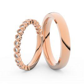 Snubní prsteny z růžového zlata s brilianty, pár - 3899