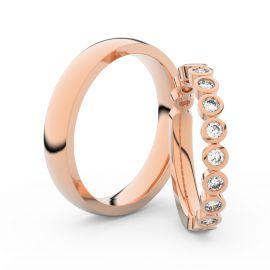 Snubní prsteny z růžového zlata s brilianty, pár - 3900