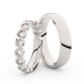 Snubní prsteny z bílého zlata s brilianty, pár - 3901