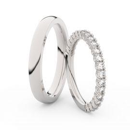 Snubní prsteny z bílého zlata s brilianty, pár - 3902