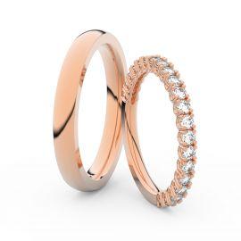 Snubní prsteny z růžového zlata s brilianty, pár - 3902