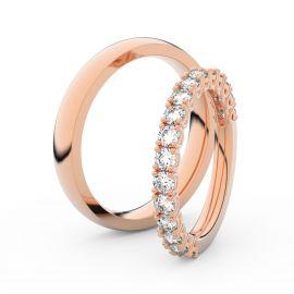 Snubní prsteny z růžového zlata s brilianty, pár - 3903