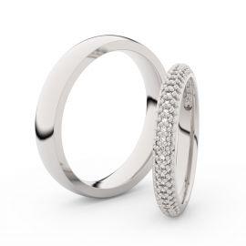 Snubní prsteny z bílého zlata s brilianty, pár - 3911