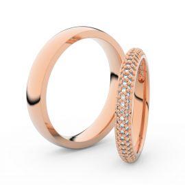 Snubní prsteny z růžového zlata s brilianty, pár - 3911