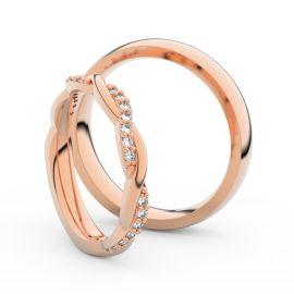 Snubní prsteny z růžového zlata s brilianty, pár - 3952