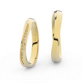Snubní prsteny ze žlutého zlata se zirkony, pár - 3017