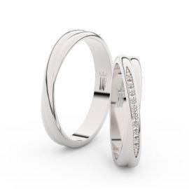 Snubní prsteny z bílého zlata se zirkony, pár - 3019