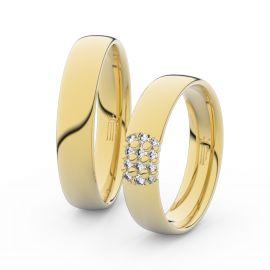 Snubní prsteny ze žlutého zlata se zirkony, pár - 3021