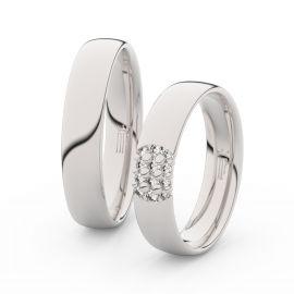 Snubní prsteny z bílého zlata se zirkony, pár - 3021