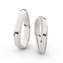 Snubní prsteny ze stříbra se zirkony, pár - 3023