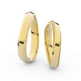Snubní prsteny ze žlutého zlata se zirkony, pár - 3023