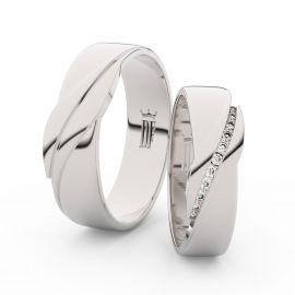 Snubní prsteny ze stříbra se zirkony, pár - 3039