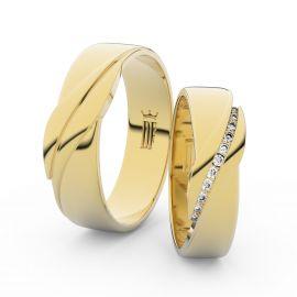 Snubní prsteny ze žlutého zlata se zirkony, pár - 3039