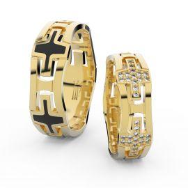 Snubní prsteny ze žlutého zlata se zirkony, pár - 3042