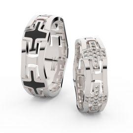 Snubní prsteny z bílého zlata se zirkony, pár - 3042