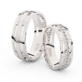 Snubní prsteny z bílého zlata se zirkony, pár - 3048
