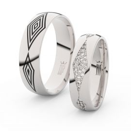Snubní prsteny z bílého zlata se zirkony, pár - 3074