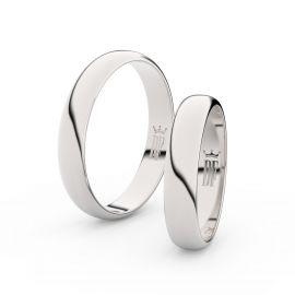 Snubní prsteny ze stříbra, 4 mm, půlkulatý, pár - 2C40