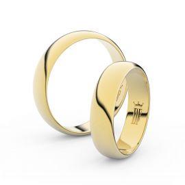 Snubní prsteny ze žlutého zlata, 4.7 mm, půlkulatý, pár - 2E50