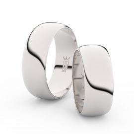 Snubní prsteny z bílého zlata, 7.5 mm, půlkulatý, pár - 3C75