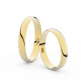 Snubní prsteny ze žlutého zlata, 3.4 mm, půlkulatý, pár - 4C35