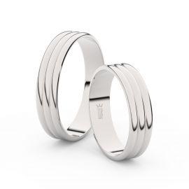 Snubní prsteny ze stříbra, 4.7 mm, trojvlnný, pár - 4J47