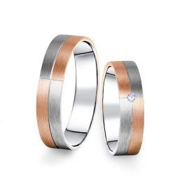 Kombinované snubní prsteny z bílého a růžového zlata s briliantem, pár - 09