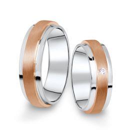 Kombinované snubní prsteny z bílého a růžového zlata s briliantem, pár - 12