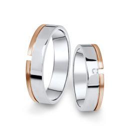Kombinované snubní prsteny z bílého a růžového zlata s briliantem, pár - 16