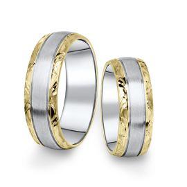 Kombinované snubní prsteny z bílého a žlutého zlata, pár - 10
