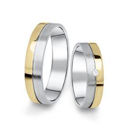 Kombinované snubní prsteny z bílého a žlutého zlata s briliantem, pár - 06