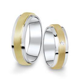 Kombinované snubní prsteny z bílého a žlutého zlata s briliantem, pár - 12