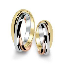 Kombinované snubní prsteny z bílého, žlutého a růžového zlata, pár - 02
