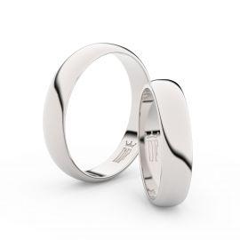 Snubní prsteny z bílého zlata, 4,5 mm, půlkulatý, pár - 2D45