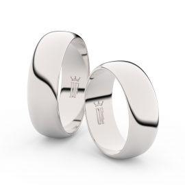 Snubní prsteny z bílého zlata, 6.5 mm, půlkulatý, pár - 3B65