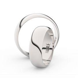Snubní prsteny z bílého zlata, 6 mm, půlkulatý, pár - 3A60