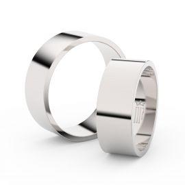 Snubní prsteny z bílého zlata, 7 mm, plochý, pár - 1G70