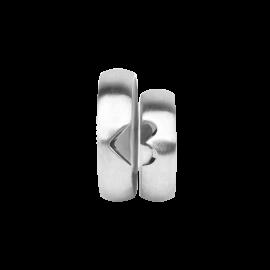 Snubní prsteny z bílého zlata, pár - 03