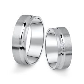 Snubní prsteny z bílého zlata s briliantem, pár - 07