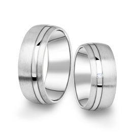 Snubní prsteny z bílého zlata s briliantem, pár - 18