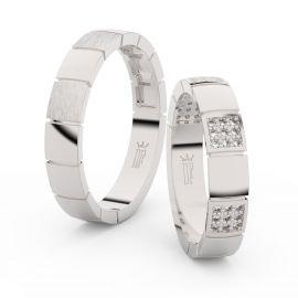 Snubní prsteny z bílého zlata s brilianty, pár - 3057